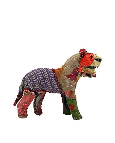 Vintage Sari Fabric Paper Mache Lion, Multi As You See