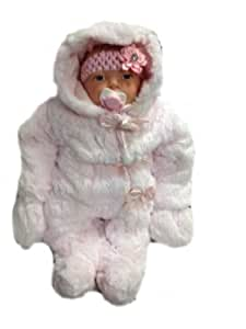 Babies All In One Deluxe Faux Fur Snowsuits Pink Bows