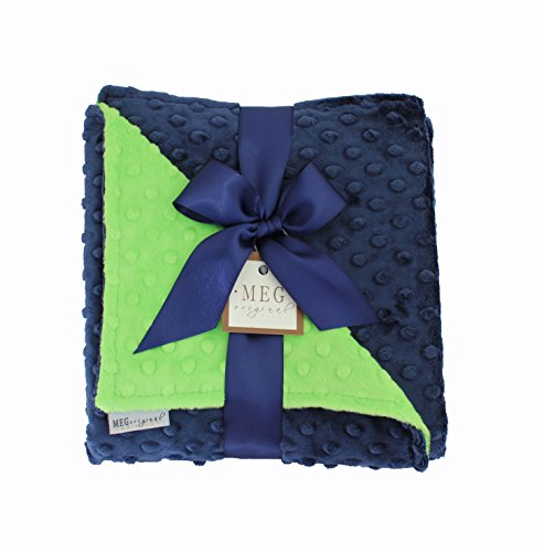 MEG Original Navy Blue & Lime Green Minky Dot Baby Blanket 972