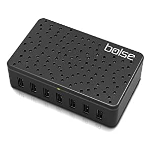 Bolse® 60W / 12-Amp 7-Port Fast Charging USB Wall / Desktop Charging Station With SmartICᵀᴹ Technology - Full Speed Charging for iPhone 6S, 6S Plus, 6, 6 Plus, 5s, 5, iPad, Samsung Galaxy, Touch Screen Tablet, Cell Phone, MP3 Player, (AC 110-220V International), Detachable 5 ft / 1.5 M Power Cord