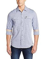 Lee Men's Casual Shirt (8907222646974_L18219386B6D00L_Large_Blue)