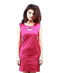 Grahcjows Creations Women's Dress (GCDRS1019_Dark Pink_X-Large)