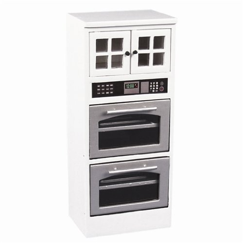 Dollhouse Miniature White Double Oven Cabinet front-143904