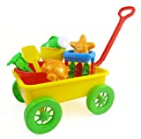 Beach Wagon Toy Set for Kids with Sand Wheel, Bucket, Shovel, Rake, Water Pail, Starfish and Turtle Shape Molds