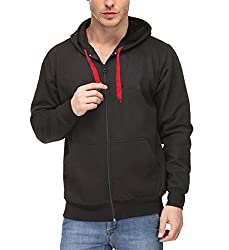 Scott Mens Premium Cotton Blend Pullover Hoodie Sweatshirt with Zip - Black - 1.1_sslz7_XL