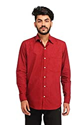 Snoby red plain cotton shirt SBY8075