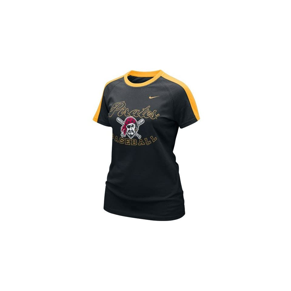 adb6aaedd723d Nike Pittsburgh Pirates Ladies Black Center Field T shirt on PopScreen