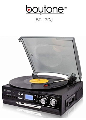 Boytone BT-17DJ 3-Speed Stereo Turntable with Built in Speakers Digital LCD Display AM/FM Radio + Supports USB/SD/AUX+ Cassette/MP3 & WMA Playback /Recorder & Headphone Jack + Remote Control