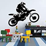 Iconic Stickers - Motorbike Scrambler Dirt Bike Car Wall Sticker Design Graphic Vinyl Mural Boy V1 - As Pictured - Size: Large - Colour: Black