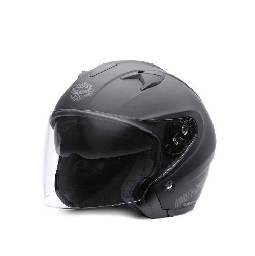 Harley-Davidson® Men's 3/4 Helmet with Retractable Sun Shield. Matte Black. 98225-11VM.