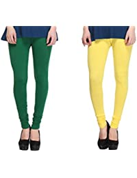 Leggings Free Size Cotton Lycra Churidar Leggings - Pack Of 2 Of Bottle Green & Yellow Colour By SMEXY