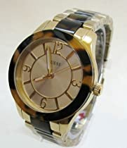 Guess W0014L1 Gold Stainless Steel Tortoise Shell Band Watch