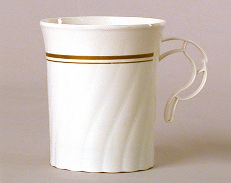 Masterpiece Plastic 8oz Coffee Cups, Ivory w/Gold Rim 8 Per Pack (Elegant Coffee Cups compare prices)