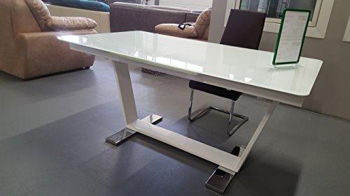esstisch sever iv ausziehbar 160 220x76x90cm hochglanz wei glas metall com forafrica. Black Bedroom Furniture Sets. Home Design Ideas