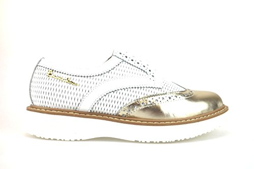 scarpe donna BRACCIALINI classiche bianco oro pelle AH365 (37 EU)