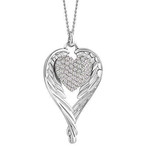 Guess Damen-Kette mit Anhänger HEARTSHELTER Halskette Edelstahl Zirkonia weiß 50 cm-UBN71502 thumbnail