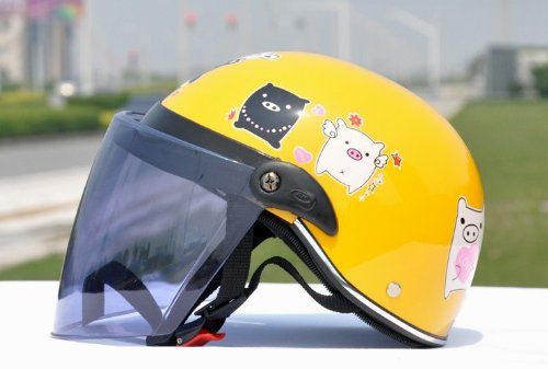 Bikman Black And White Pig Helmet Children'S Helmet Motorcycle Helmet Electric Cars Cartoon Helmet Half-Face Helmet Summer Helmet (Yellow)