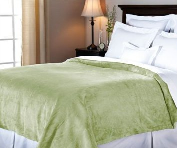 Sunbeam Velvet Plush Heated King Blanket With 20 Heat Settings, Dual Digital Controllers, Auto-Off And 5 Yr Warranty - Ivy Green Customers Have Chosen Sunbeam As America'S #1 Heated Electric Blanket! With Dual Controllers, You Can Select From 20 Custom He