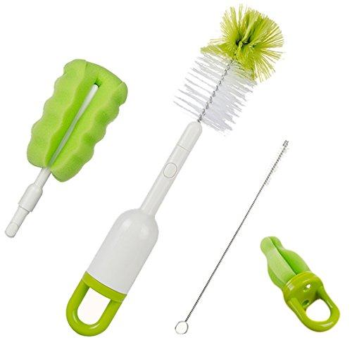 Kidsmile 4 in 1 Bottle Brush Cleaner Kit, Cleaning Brush Set for Cups Sports Bottle Baby Bottle Nipple Straws ( Green )
