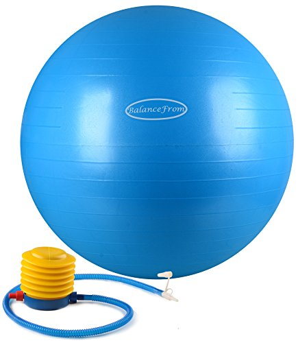 BalanceFrom Anti-Burst and Slip Resistant Fitness Ball with Pump, Blue (65cm)
