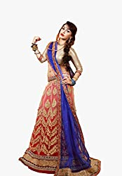 Orange Fab Red & Blue Net Embroidery Lehenga Choli