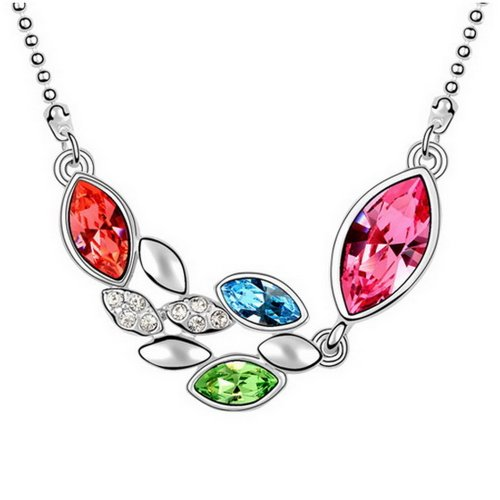 "Alvdis Fashion Jewelry Oval String Style Alloy Swarovski Crystal Pendant Necklace, 16"", Pink"