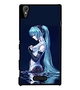 Blue Girl 2D Hard Polycarbonate Designer Back Case Cover for Sony Xperia T3