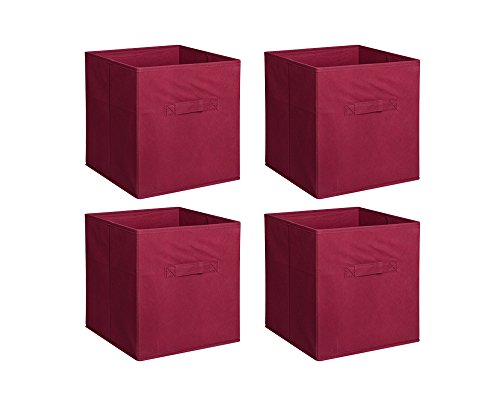 New Home Storage Bins Organizer Fabric Cube Boxes Shelf Basket Drawer Container Unit (4, Rust Red) (Foldable Drawer Storage Unit compare prices)