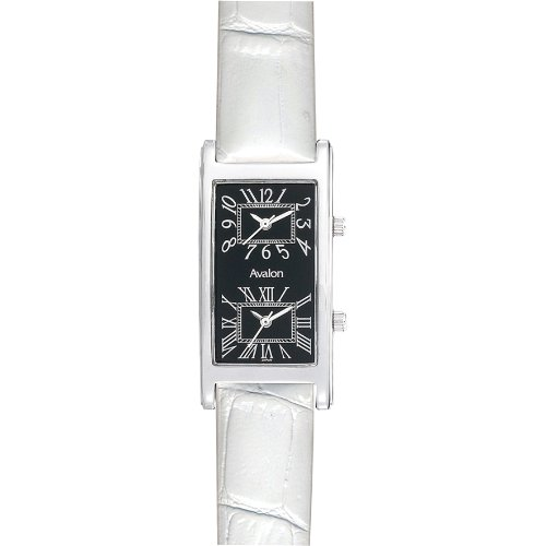 Avalon Unisex Silver-Tone World Traveler Dual Time Zone White Strap Watch # 7090-4WST