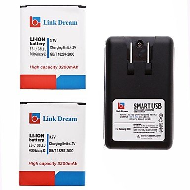 Yyt- Link Dream 2 X Cell Phone Battery+Charger For Samsung Galaxy I9300 Siii S3 (3200 Mah)