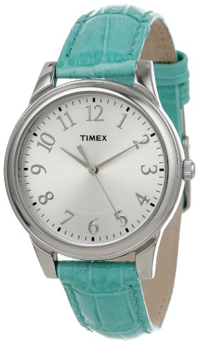 Timex Women'S T2P1262M Blue Croco Patterned Leather Strap Watch front-689644