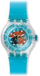 Swatch Unisex SUUK103 O-TINI Blue Skeleton Watch