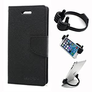 Aart Fancy Wallet Dairy Jeans Flip Case Cover for MotorolaMotoE (Black) + Flexible Portable Mount Cradle Thumb OK Designed Stand Holder By Aart Store.