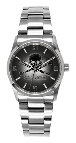 Zadig Voltaire ZV &001/Rock AM-Unisex Watch Analogue Quartz Silver Steel Strap Black Dial