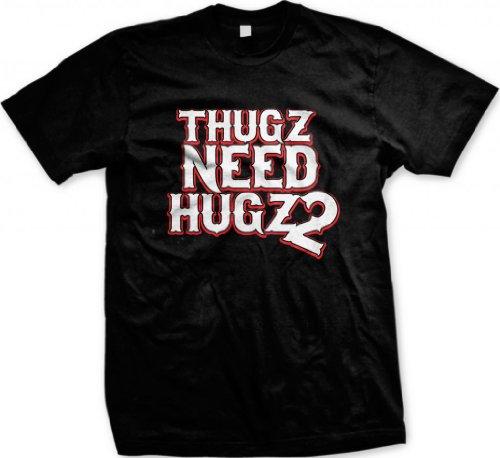 Thugz Need Hugz 2 Men'S T-Shirt, Hilarious Thugs Need Hugs Too Design Men'S Tee (Black, Large)