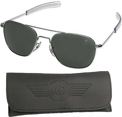 AO Original Pilot Sunglasses, Silver, Wire Spatula, CC Gray Poly Lens, 55mm