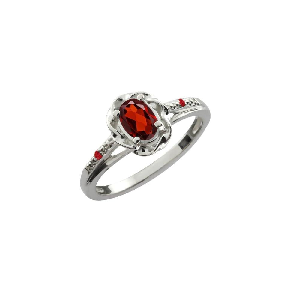 0.57 Ct Oval Red Garnet Red Rhodolite Garnet 14K White Gold Ring