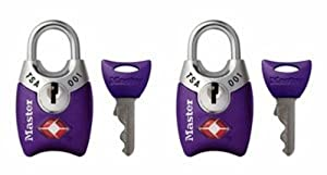 Master Lock 4689TPRP TSA Accepted Luggage Locks with Keys, Purple, 2-Pack
