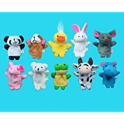 [Best price] Stuffed Animals & Plush - 10 Pc Soft Plush Animal Finger Puppet Set includes Elephant, Panda, Duck, Rabbit, Frog, Mouse, Cow, Bear, Dog, Hippo - toys-games