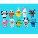 Qiyun 10 Pc Soft Plush Animal Finger Puppet Set (includes Elephant, Panda, Duck, Rabbit, Frog, Mouse, Cow, Bear, Dog, Hippo)