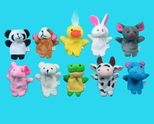 10 Pc Soft Plush Animal Finger Puppet Set Includes Elephant, Panda, Duck, Rabbit, Frog, Mouse, Cow, Bear, Dog, Hippo