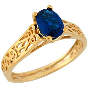 10k Yellow Gold Oval Cut Synthetic Blue Sapphire Delicate Filigree Ladies Ring