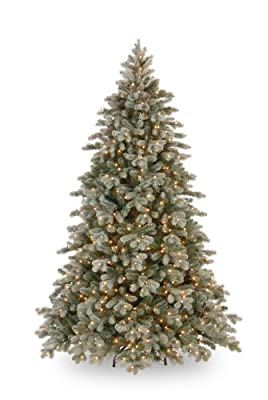 National Tree 7.5 Foot Feel Real Frosted Colorado Fir with 750 Clear Lights National Tree Drop Ship PECSF1-300-75