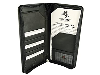 Visconti Large Leather Travel Wallet For Passports, Tickets, Credit Cards - 1157 (Black)