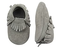 Unique Baby Unisex Quality Suede Moccasins(S 4.7 Inches) Gray