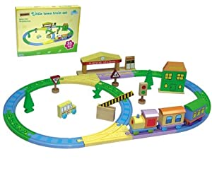 1st Train Set in calming colours - Childrens Wooden train set with 35 pieces