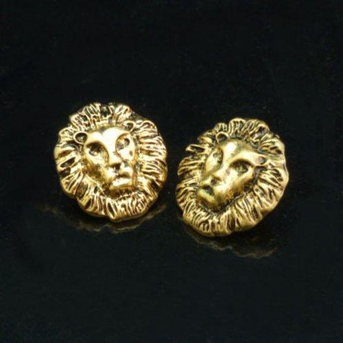 HuntGold Hot Damen Frau Mädchen Fashion Gold && Silber & Bronze überzogen König Lion Head Leo Ohrstecker Ohrringe (Bronze)