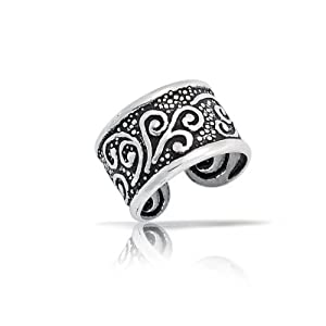 Bling Jewelry Oxidized Celtic Tribal Ear Cuff One Piece 925 Sterling Silver by Bling Jewelry