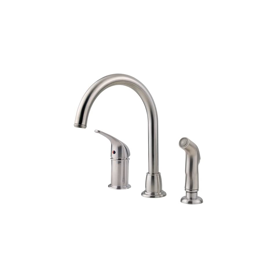 Pfister FWK1680S 1 Handle 3 Hole Cagney Kitchen Faucet, Stainless Steel
