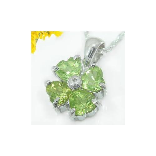 [アトラス] Atrus ペリドット ダイヤモンド ダイヤ ペンダント ネックレス シルバー925 クローバー モチーフ 四つ葉 ハート ペンダントトップ ペンダントヘッド